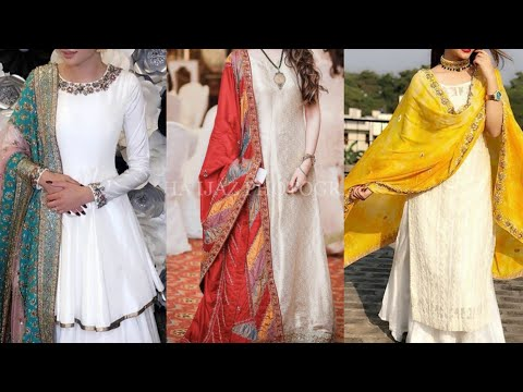 White partywear stylish dresses with contrast dupatta ideas 2019
