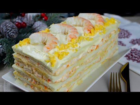 Pastel de marisco con pan de molde, cangrejo y langostinos | Recetas para Navidad 🎄