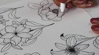 How To Draw Different Flowers And Leaves   Drawing Easy Flowers   Flower Doodle
