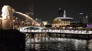 Singapore Night Walk. Downtown, Marina Bay, Fullerton and Merlion from Jubilee Bridge