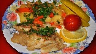 Смотреть онлайн Рецепт приготовления картошки и рыбы в мультиварке