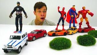 Фёдор сделал Автопоезд для Супергероев Марвел. Видео с игрушками.