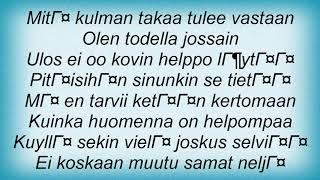 Apulanta - Todella Jossain Lyrics