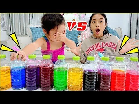 แข่งทำสไลม์ 3 สี  แม่แหม่ม vs ใยบัว ของใครจะเน่ากว่ากัน!  3 COLORS OF GLUE SLIME CHALLENGE!!