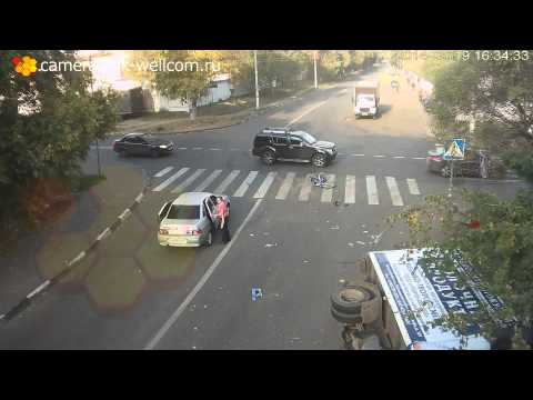 Cyclist Miraculously Escapes Death In Spectacular Traffic Accident