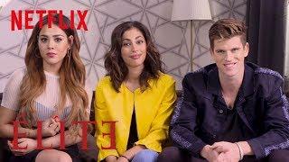 Danna Paola, Miguel Bernardeau And Mina El Hammani Teach You Spanish  Elite  Netflix