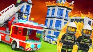 LEGO Feuerwehrmann Kinderfilm: Feuer in der Polizeistation   Stop Motion für Kinder deutsch