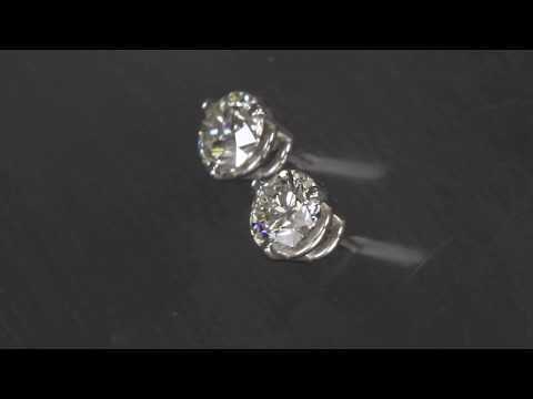 Diamond Round Stud Earrings .90 Carats