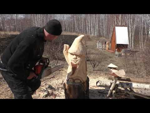 Гном из дерева бензопилой, Гном своими руками, как сделать Гномика, a dvarf tree