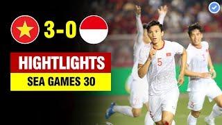 Highlights Việt Nam 3-0 Indonesia | Văn Hậu lập cú đúp siêu đẳng - U22 VN vô địch Sea Games lịch sử
