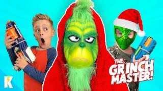 The Grinch Master Stole our Toys! Nerf Battle + Spider-Man Grinch | KIDCITY