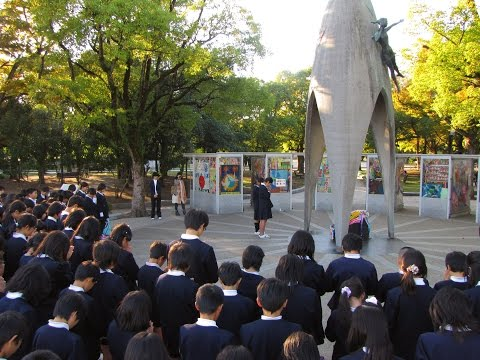 Touching. Children singing at the Sadako Sasaki Monument in Hiroshima