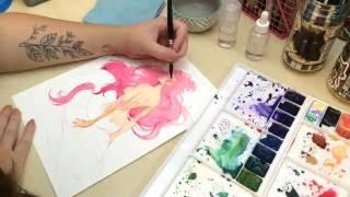 Watercolor Mermaid Painting Process