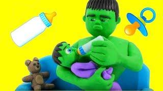 HULK BABY SITTER ❤ Spiderman, Hulk & Frozen Elsa Play Doh Cartoons For Kids