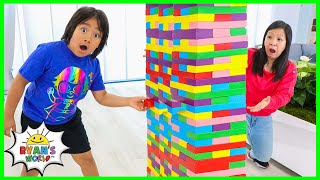 Ryan And Mommy Pretend Play With Giant Colored Block Toys Jenga!!