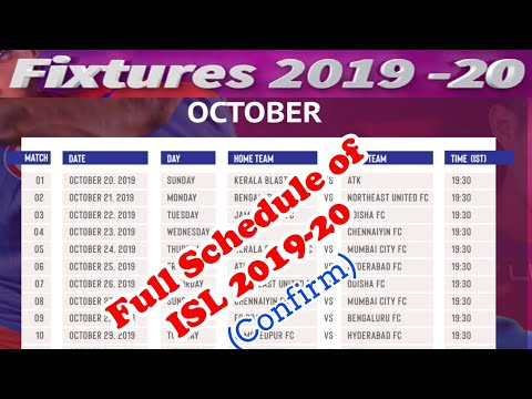 ISL FIXTURES 2019-20 Official | Schedule , Venue,Timetable