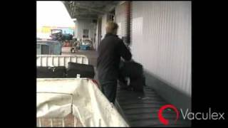 Baggage Handling - From Open Cart to Conveyor - using Vaculex TP BaggageLift