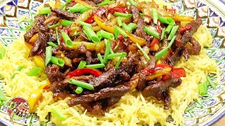 Жареная лапша с говядиной по - сингапурски. Singapore style fried noodles with beef