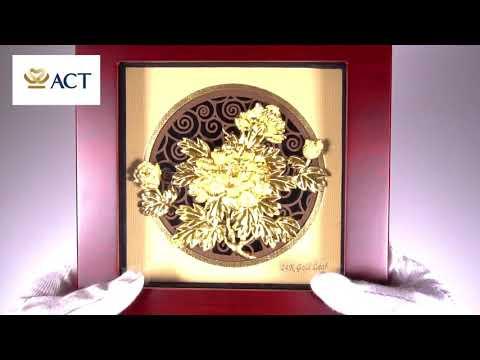Tranh hoa mẫu đơn phú quý dát vàng (26x26cm)
