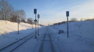 Маршрут Исакогорка-Архангельск из тамбура последнего вагона