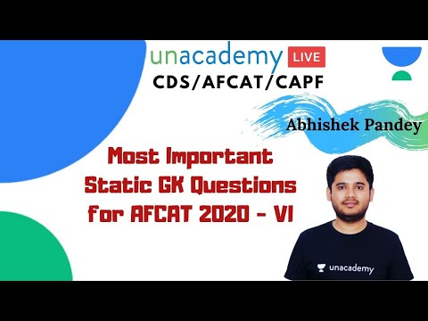 Most Important Static GK Questions for AFCAT 2020 | AFCAT Preparation - VI by Abhishek Pandey