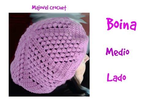 Boina en RELIEVES con Flor Tejida a crochet paso a paso con ... ff6c520cdb6