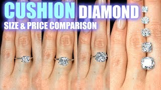 Cushion Cut Diamond Size Comparison On Hand Finger Engagement Ring Shaped 1 25 Carat 2 Ct 1 3 .5 .3