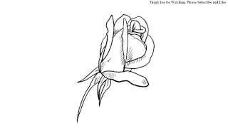 How to Draw a beautiful rose bud draw under one minute easy simple rose