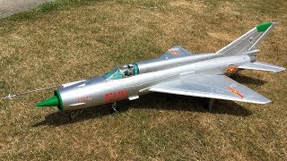 Freewing MiG-21 80mm EDF Jet Fighter Performing High Alpha Maneuvers at Warbirds Over Whatcom