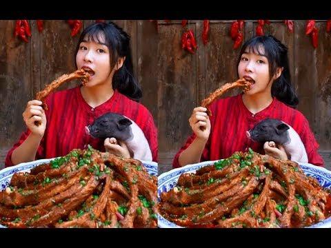 #大胃王#吃貨 全村第一吃貨消滅三十斤紅燒排骨
