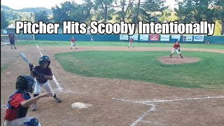 Scooby getting hit by pitch for hitting a HOMERUN in back to back games