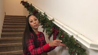 How To Hang and Decorate Garland For Your Staircase