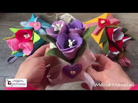 Tutorial come realizzare una busta in feltro porta fiori easy diy cartamodello gratuito free pattern