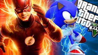 SONIC and FLASH become BEST FRIENDS MOD (GTA 5 PC Mods Gameplay)