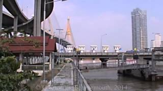 preview picture of video 'Samut Prakan Province, Bhumibol Bridge, formerly the Industrial Ring Road Bridge, Thailand. ( 2 )'