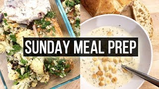 Sunday Meal Prep - Roasted Salmon & Cauliflower, Steak Tacos, and Clam Chowder