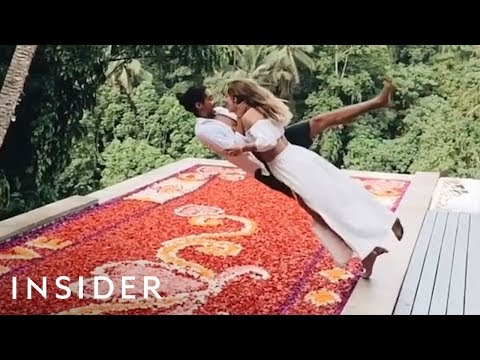 Diving Into a Flower Pool at a Bali Villa