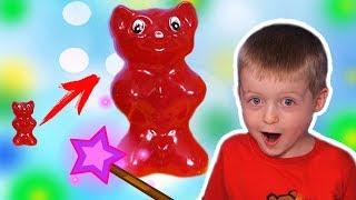 Увеличиваем Игрушки и Конфеты Огромный Желейный Медведь Lion boy