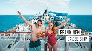 Boarding A BRAND NEW Cruise Ship! - Norwegian Encore Food & Ship Tour + Private Caribbean Island