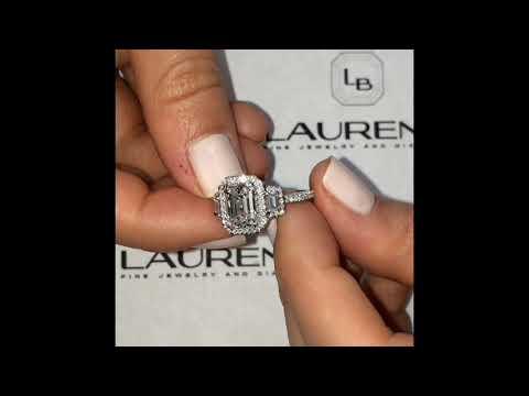 3 ct Emerald Cut Diamond Three-Stone Halo Ring