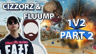 Cizzorz & Fluump 1v2 Challenge Part 2! Beach Volleyball Solo?