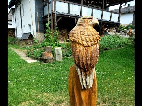 Von der Wurzel zum Adler made by Larscarving- Wood chainsaw carving eagle sculpture