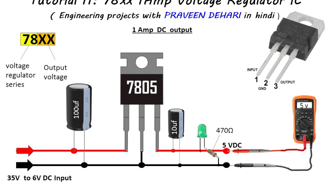78xx Series 1amp Voltage Regulator Ic Tutorial 11 6 Volt Circuit Using 7806