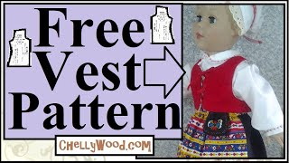 Free Doll Clothes Patterns:  Folklore Vest For 18 Inch Dolls