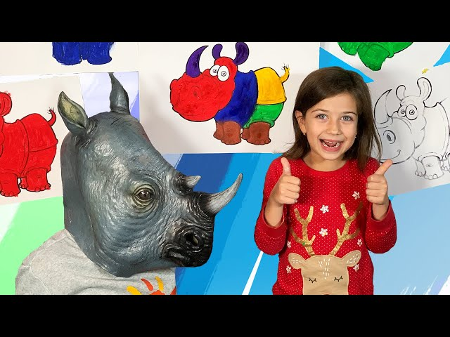 song for children colored rhino