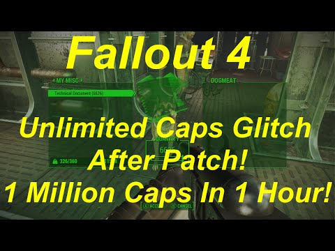 Fallout 4 Unlimited Caps Glitch AFTER PATCH! 1 MILLION Per Hour! Infinite Caps! (Fallout 4 Glitches)