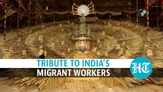 Watch: Migrant workers idol replaces Goddess Durga in this Kolkata pandal  IMAGES, GIF, ANIMATED GIF, WALLPAPER, STICKER FOR WHATSAPP & FACEBOOK