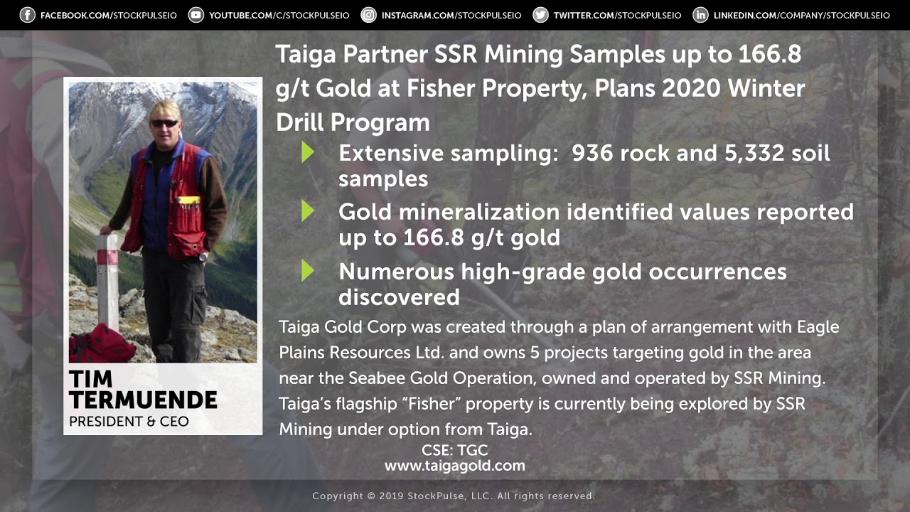 Taiga Partner SSR Mining Samples at Fisher Property, Plans 2020 Winter Drill Program
