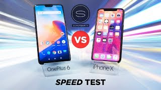 OnePlus 6 vs Apple iPhone X SPEED Test