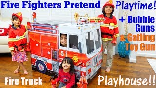 Fire Fighters Pretend Playtime! A Fire Truck Playhouse and Bubble Guns. Plus Toy Gun for Kids